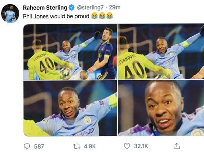 Raheem Sterling gave some friendly banter against his rival club.